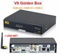 Genuine Full HD 1080 P V8 de Oro DVB-S2/T2/C energía HD Ayuda del Receptor de Satélite Vu IPTV Youtube + 1 unid USB WIFI