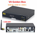 Genuine Full HD 1080P V8 Golden DVB-S2/T2 /C HD Satellite Receiver Support power Vu IPTV Youtube + 1pc USB WIFI