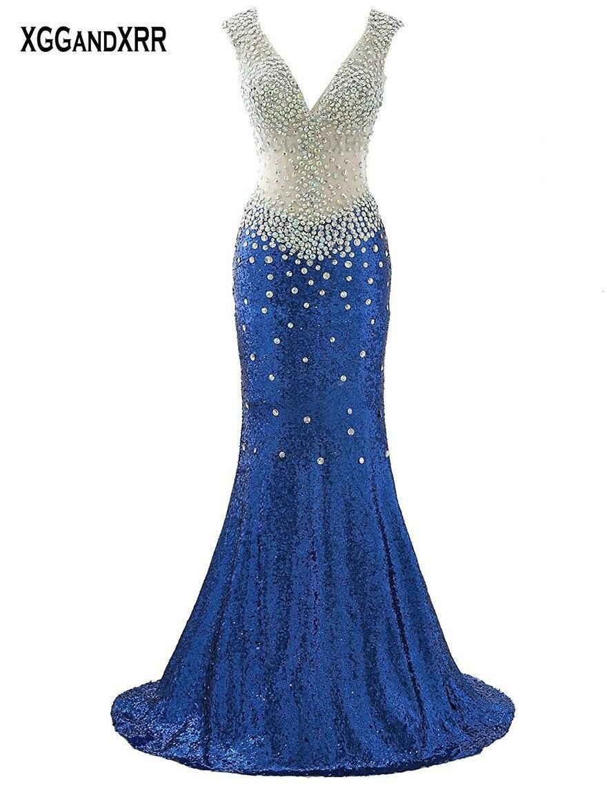 Elegant V Neck Long Black Prom Dress Sparkling Crystals Sequins Backless Long Evening Dress Red Formal Party Gown Hollow Back