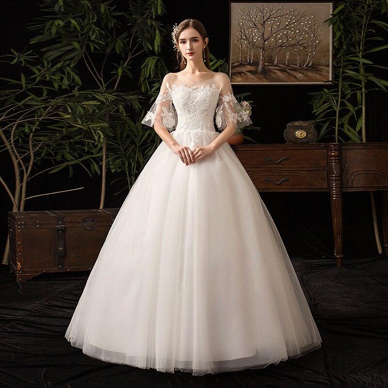 2019 New Hot Illusion O Neck Half Sleeve Wedding Dress Lace Applique Plus Size Custom Made Vintage Bridal Gown Vestido De Noiva