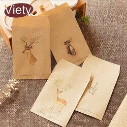8 шт./лот, винтажные бумажные конверты для скрапбукинга с изображением оленя, маленькие конверты, кавайные канцелярские принадлежности, под...