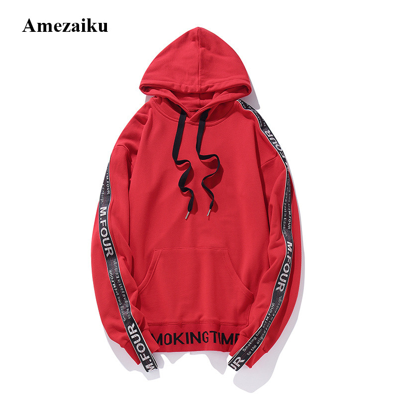 2017 New autumn Winter Men's Fashion Hooded Sweatshirts Hip Hop Hoodies high street wear four letter shoulder strap hoodies