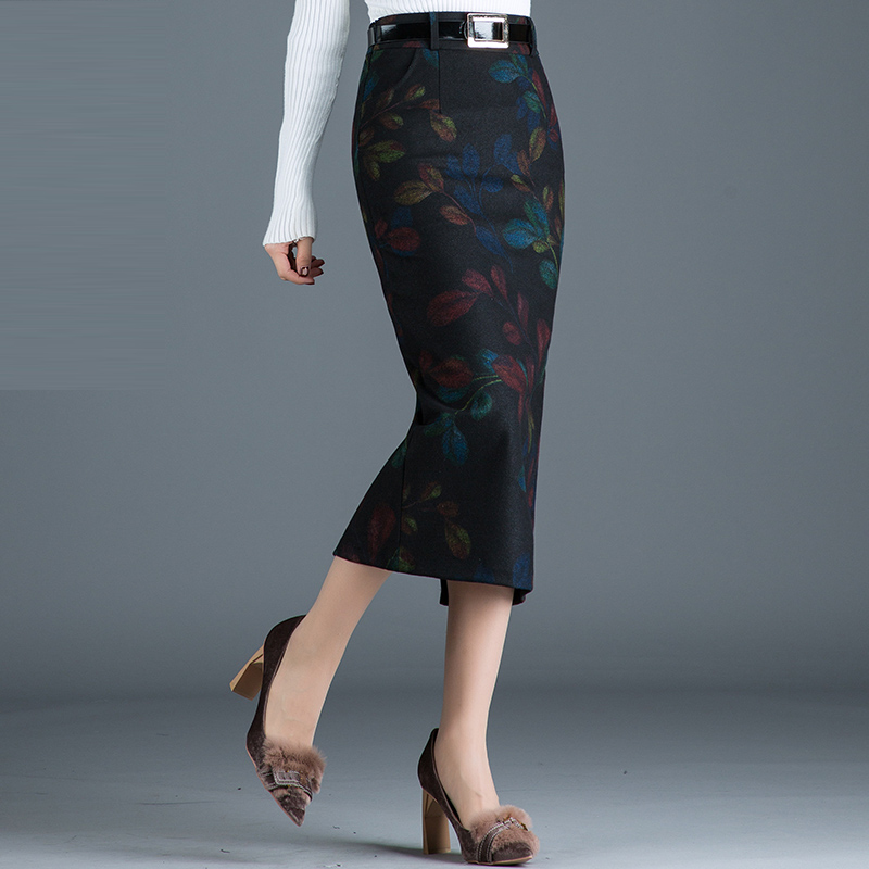 Autumn Fashion Stylish Women Printed Floral Pattern Slim Wool Pencil Skirt , Woman Fall 4xl High Waisted Long Woolen Skirts