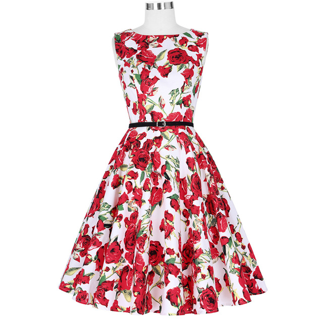 abe3b7e1fc Good Quality Ladies Dress 50s Style Vintage 2017 Summer New Femme Robe Sexy  Picnic Retro Vestidos Women Cotton Swing Dresses