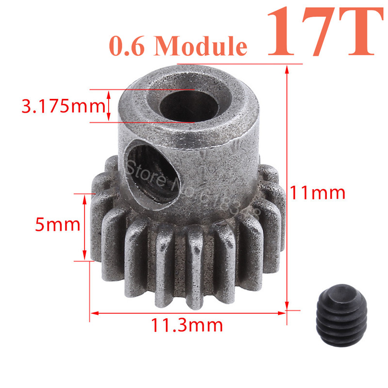 17T Steel Metal Motor Pinion Gear 11119 RC Parts For HSP BRONTOSAURUS 1/10 Truck 94111 Redcat Volcano EPX Pro EP Exceed new arrival hsp 11185 motor gear 15t for rc 1 10 model car buggy truck 94110 94115 pro