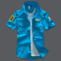 2017 NEW Shirts Fashion Airforce Uniform Military Short Sleeve Shirts Men S Dress Casual Shirts Aeronautica