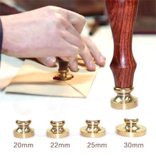 Newest Retro Sealing Wax Stamp Copper Head Round For Envelope Wooden clear stamps embossing folder 1pcs