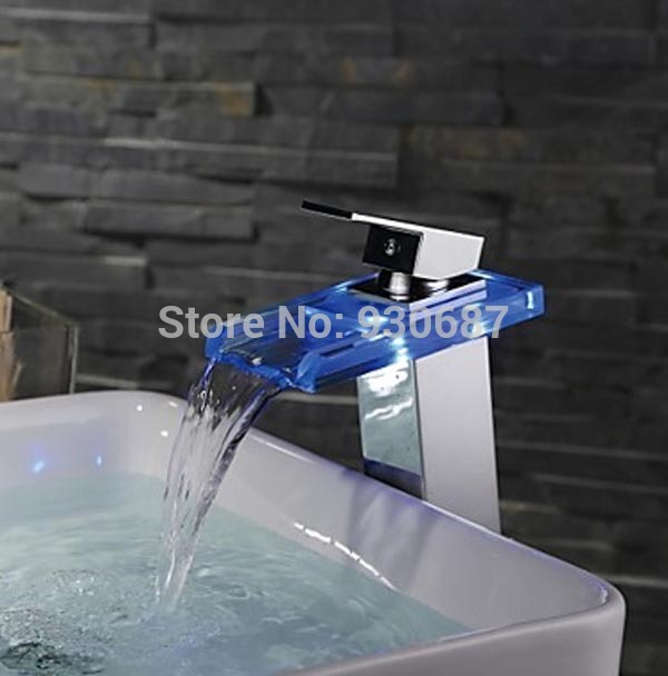 ФОТО Color Changing Led Chrome Basin Faucet Waterfall Centerset Mixer Tap