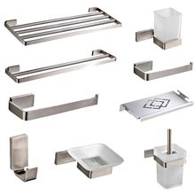 цены Stainless Steel Bathroom Hardware wall Mounted Polish Paper Holder Bath Towel Bars Bathroom Accessories Set 40 /50 CM towel rack