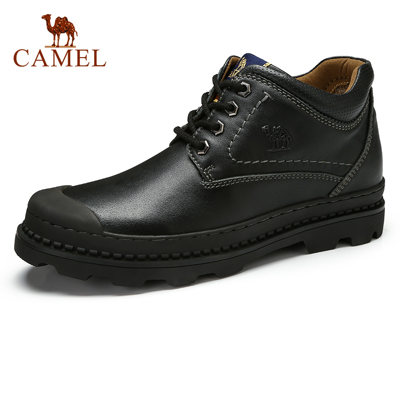 CAMEL Men Winter Boots Fashion Tooling Comfortable Cushioning Genuine Leather Daily Casual Textured leather Boot Botas