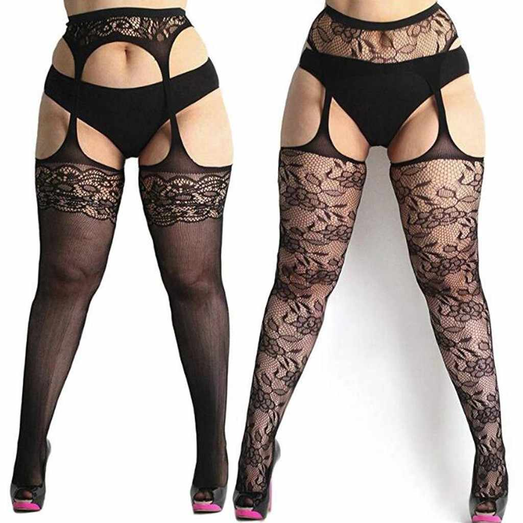Stockings Female Erotic Stockings For Sex MediasHombre Womens fishnet tights Plus Size Lace Suspender Pantyhose Stocking #501