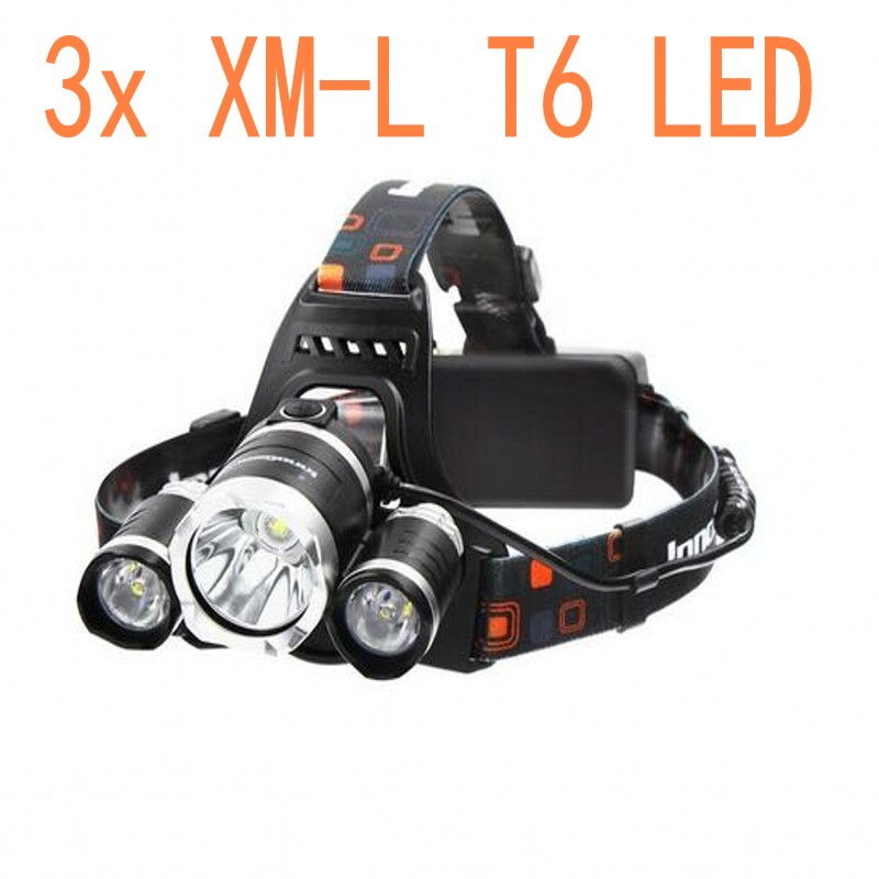 New Headlight XM-L 3XT6 LED Head Light 4 Modes Headlamp Lantern Hunting Bicycle Head Flashlight+Car AC Charger+Battery+USB cable 1