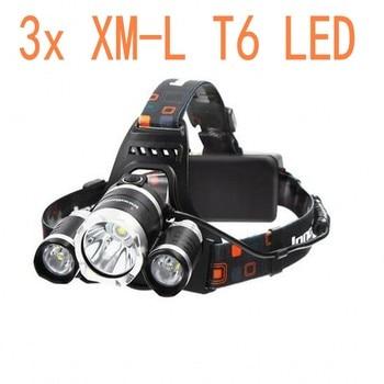 New Headlight XM-L 3XT6 LED Head Light 4 Modes Headlamp Lantern Hunting Bicycle Head Flashlight+Car AC Charger+Battery+USB cable 1