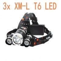 Nieuwe Koplamp XM-3XT6 LED Head Light 4 Modes Koplamp Lantaarn Jacht Fiets Hoofd Zaklamp Auto AC Charger + batterij + USB kabel