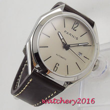лучшая цена 43mm PARNIS Grey Dial polished Bezel luminous hands Sapphire Glass Date Miyota 821A Automatic Movement men's Watch