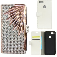 Luxury 3D DIY Bamboo Style Bling Diamond Flip PU Leather Wallet Back Case For Xiaomi 5X