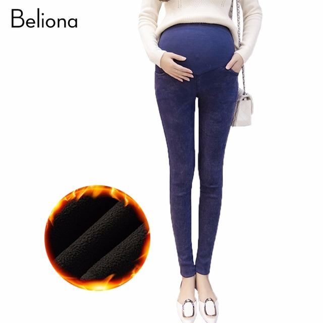 a39923c89cd9c Winter Imitation Maternity Jeans for Pregnant Women Warm Care Belly  Pregnancy Pants Leggings Stretch Maternity Clothes