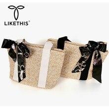 LIKETHIS 2019 New Fashion Women Linen Handbag Casual Tote Holiday Bags Summer Woven Beach Daily High Quality Versatile Handmade