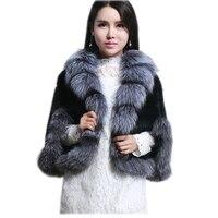 Европа Мода меха норки платок для волос большой silver fox меховой воротник норки плетеная шаль
