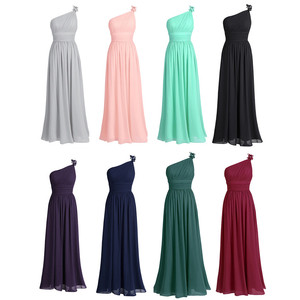 Image 3 - TiaoBug Long Chiffon Bridesmaid Dresses One Shoulder Beading Light Green Black Burgundy Dark Purple Gray Bridesmaid Dress Gown