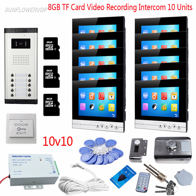 Home Video Doorman Recording 7 Color Monitors Door Intercom For 10 Apartments Door Bell Camera With Rfid Door Lock 8GB TF Card 3 monitors 7 video intercom with reording 8gb tf memory cards intercom door rfid camera for 3 apartments electric strike lock