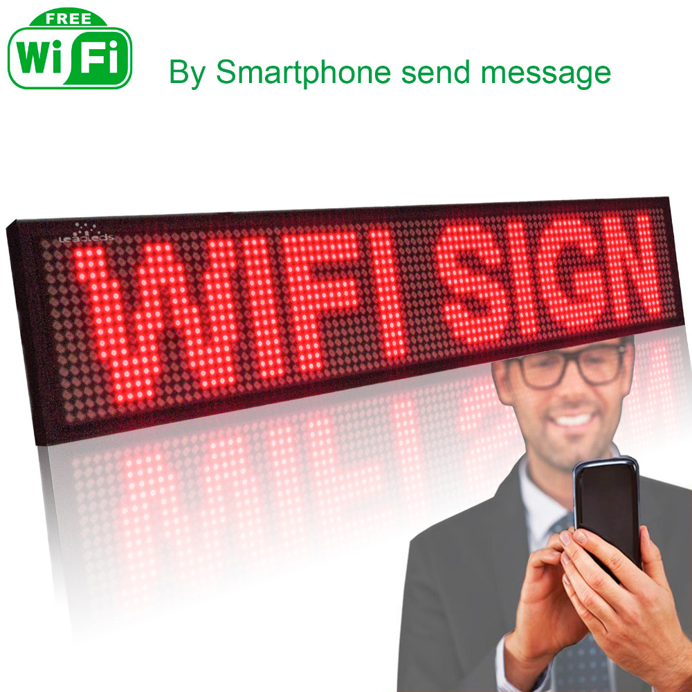 P5 SMD Led Sign Android Phone WIFI Remote Control Programmable Scrolling Message Time LED Display Board (RED)