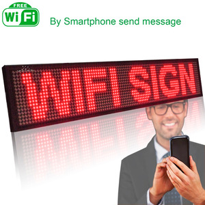 Image 1 - Smart Wireless Led Sign Android iOS Program Message Board Multi Language Display Screen 50cm Red Message 1536 LEDs