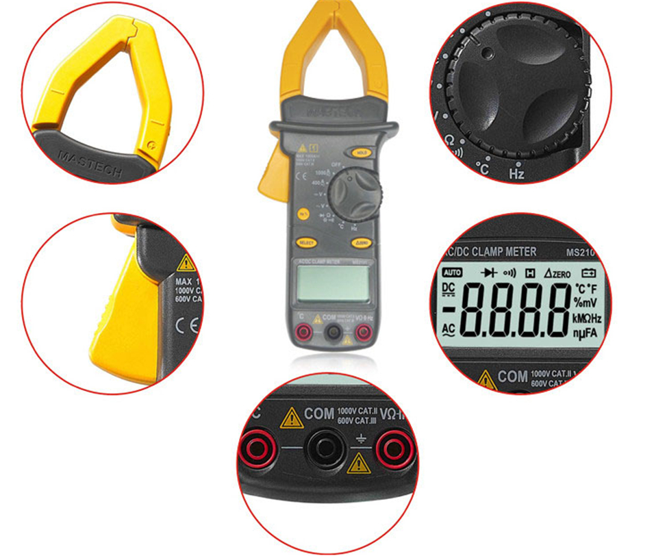 2017 New <font><b>MASTECH</b></font> <font><b>MS2101</b></font> AC/DC 1000A Digital Clamp Meter DMM Hz/C clamp meter measured capacitance frequency temperature image