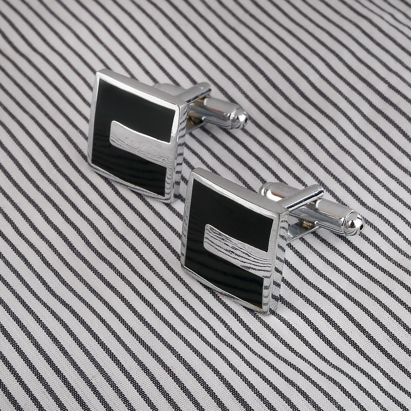 High Quality French Style Business Men Cufflinks Square Shaped Cuff links Brass Stamping Gentalman Custom Enamel Cufflinks