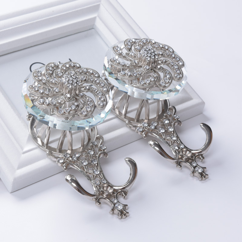 Diamond Flower Curtain Tie Back Tieback Holders Wall Hooks Hanger Home Decoration