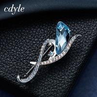 Cdyle Crystals From Swarovski Brooches Women Austrian Rhinestone Fashion Jewelry Elegant Luxury Blue Christmas Retro Vintage
