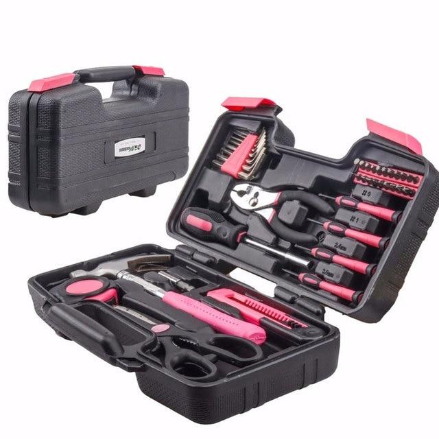 39 Pcs Roze Vrouwen Hand Tool Set Algemene Huishoudelijke Reparatie Tools Kit Storage Case Hamer Tang Schroevendraaier Accessoires|Meubelaccessoires|Meubilair -