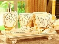 Luxury Ivory Porcelain Bathroom Set Gold Home Decor Toothbrush Holder Soap Dispenser Storage Tray Free Shipping
