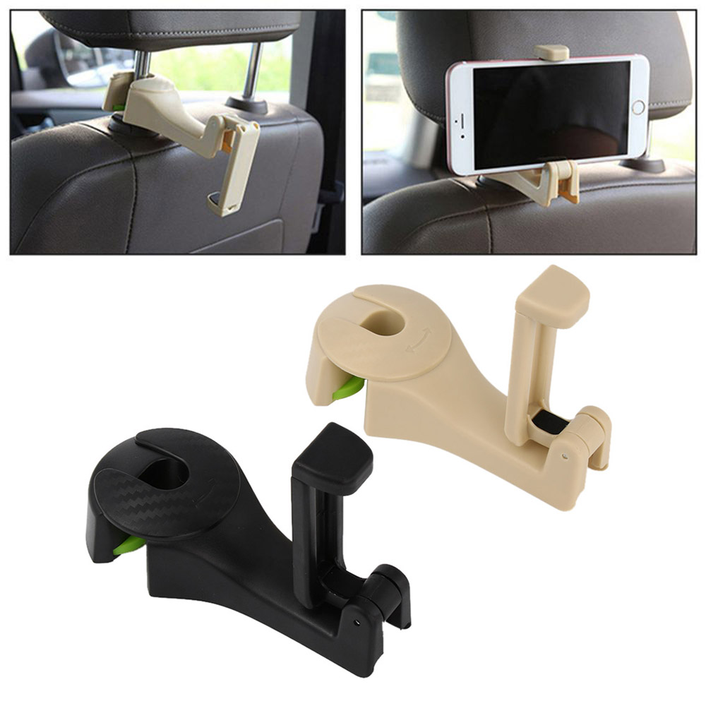 SUMSEA 2 in 1 Car Headrest Hooks Car Hanger with Phone Holder Blue Universal Vehicle Car Seat Hook Car Rear Seat Organiser Holder for Bag Purse Cloth Grocery