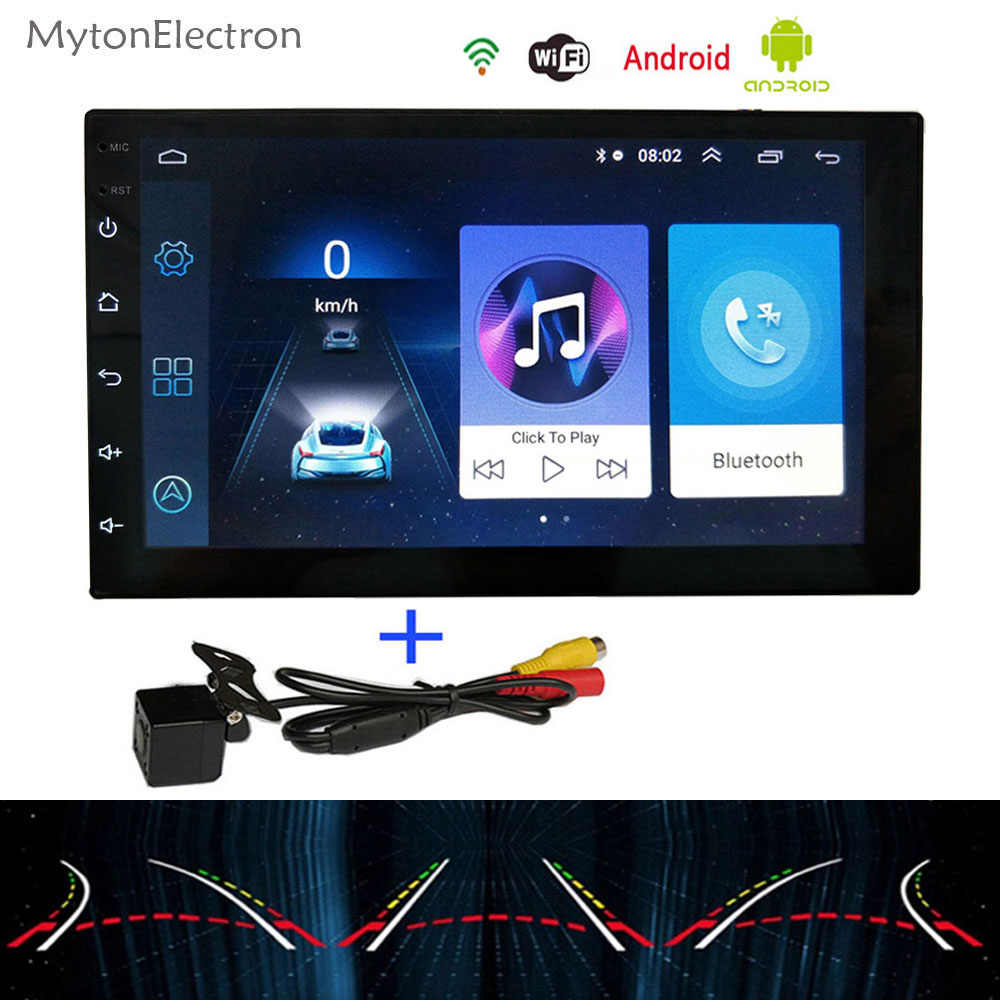 אנדרואיד רכב רדיו אודיו סטריאו 2Din FM 1024*600 GPS Navigator Bluetooth אינטליגנטי דינמי מסלול אלחוטי חניה מצלמה