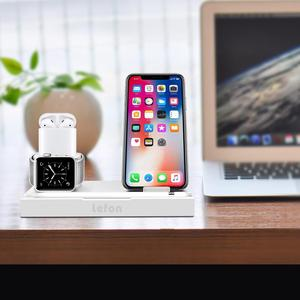 Image 5 - Estación de carga inalámbrica de Lefon Qi para iPhone Samsung Smartphone soporte de cargador de aluminio para Airpods Apple Watch Pencil