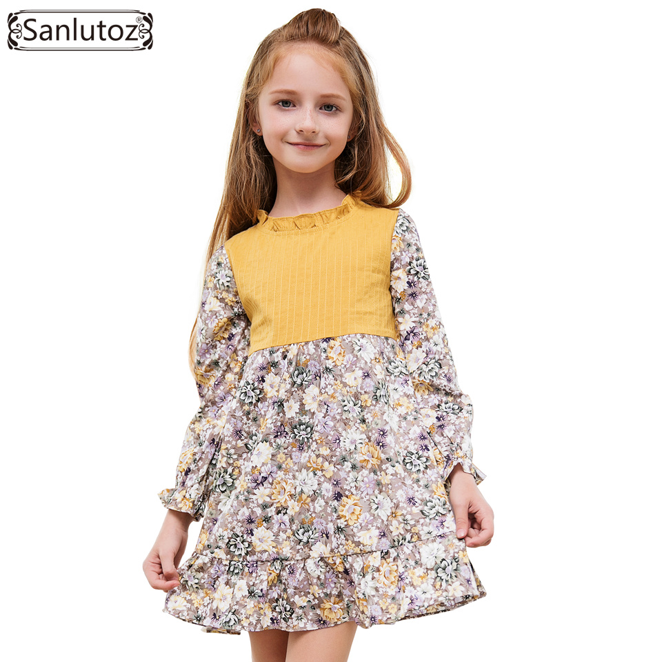 Sanlutoz Flower Girls Dress Winter Children Clothing Kids Dress for Wedding Party Toddler Long Sleeve Princess Brand Fashion girls dress winter 2016 new children clothing girls long sleeved dress 2 piece knitted dress kids tutu dress for girls costumes