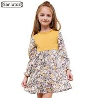 Sanlutoz Flower Girls Dress Winter Children Clothing Kids Dress For Wedding Party Toddler Long Sleeve Princess