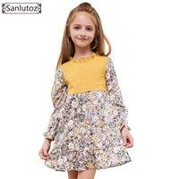 Sanlutoz Flower Girls Dress Zima Dzieci Odzież Dla Dzieci Dress na Wesele Maluch Księżniczka Z Długim rękawem Marki Mody