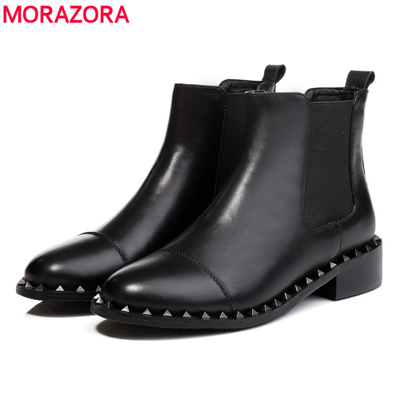 ФОТО Plus size 33-43 2017 autumn simple solid elastic band popular rivets women boots genuine leather fashion round toe ankle boots