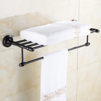 60cm European Antique Copper Storage Rack Shelf Wall Mounted Oil Rubbed Bronze Bathroom Shelves Towel Racks