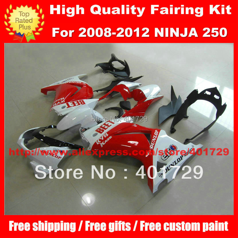 Racing motorcycle fairing for Ninja ZX250R 2008 2012 ZX 250R ZX 250R high grade white and red bodywork set with free gifts