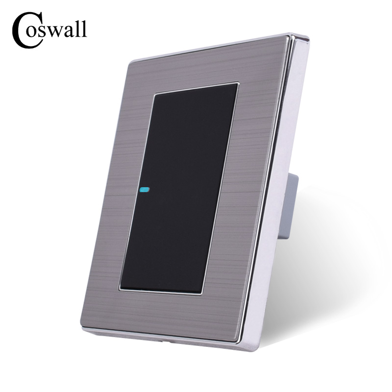 Image 3 - Coswall 1 عصابة 1 طريقة الفاخرة LED مفتاح الإضاءة على/قبالة الجدار التبديل Interruptor نحى الفضة لوحة 10A AC 110 ~ 250V1 gangpush button wallwall light panel -
