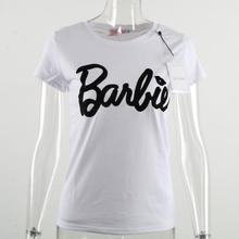 2017 New Summer Style Fashion clothes for women Barbie Letter Print Harajuku kawaii fitness t shirt women's T-Shirt camisetas