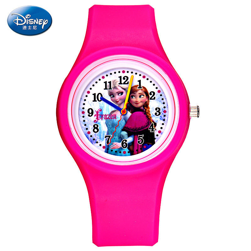 Childrens Watches Disney Brand Children Girl Watches Cartoon Frozen Students Girls Clocks Waterproof Leather Quartz Wristwatch Watches