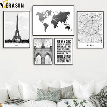 World Map Paris Tower New York Bridge Wall Art Canvas Painting Nordic Posters And Prints Wall Pictures For Living Room Decor цена