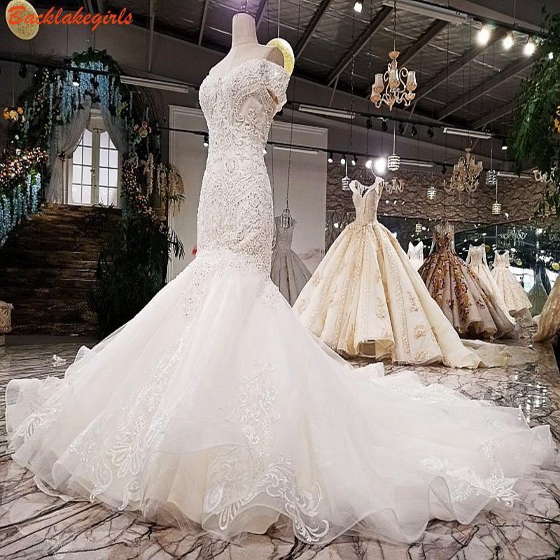 02874 Spitze Perlen Meerjungfrau Hochzeit Kleid Schatz Handarbeit Perlen Spitze Braut Kleid