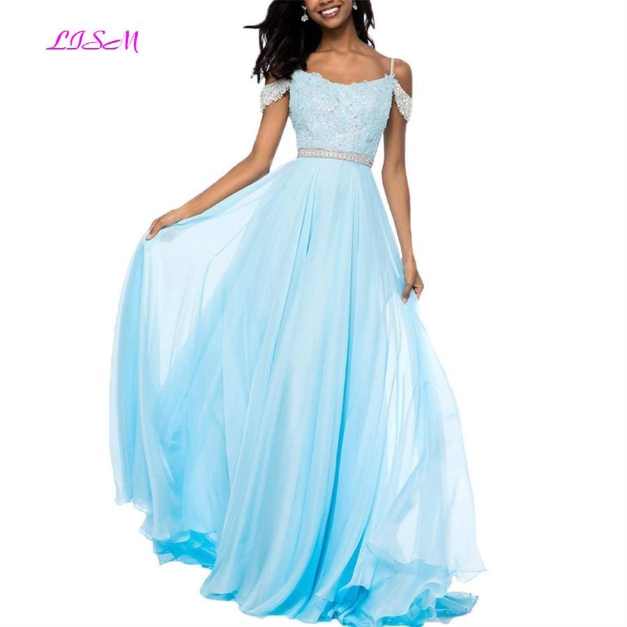 Off Shoulder Chiffon Junior Girls   Prom     Dresses   Sexy Backless Long Evening Gowns A-Line Sleeveless Party   Dress   vestidos de gala