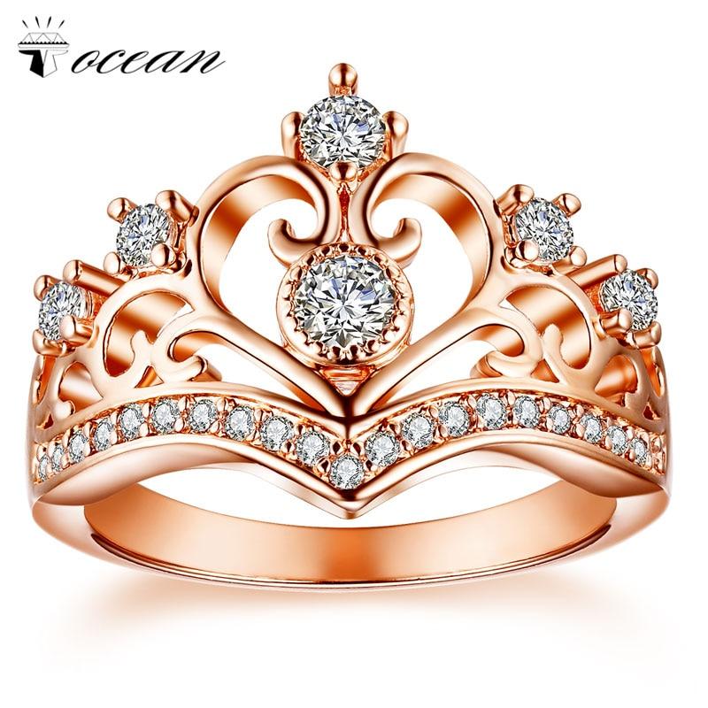 Tocean or Rose couleur romentique beaux anneaux de mariage pour les femmes couronne coupe AAA Zircon Bijoux de fiançailles Bague Size5-12 W009