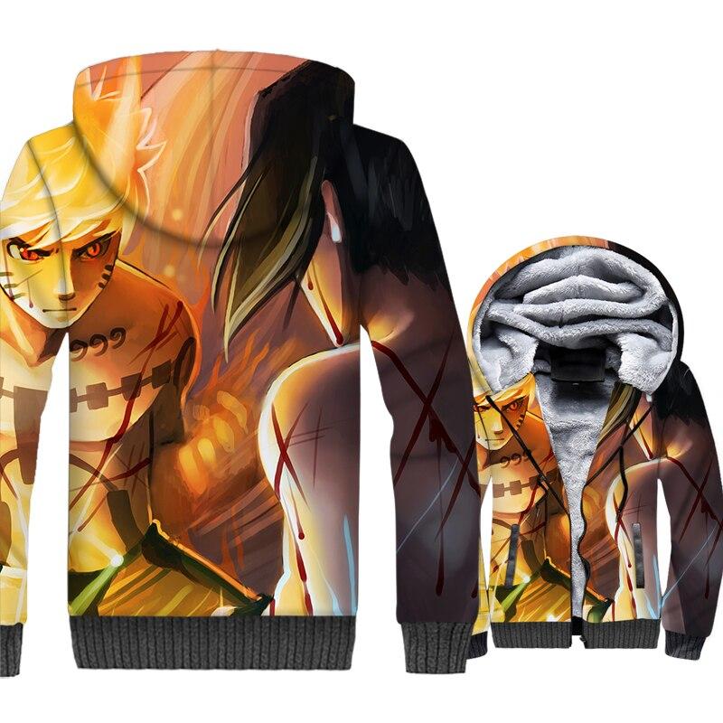 Uchiha Sasuke men winter hoodies 2019 new arrival Uzumaki Naruto jackets casual thick wool liner coats man 3D Print swag clothes